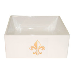 Decorated Porcelain Company - Gold Fleur de Lys Painted Sink - Perfect for a small or compact guest bath or powder room. The Fleur de Lys design in gold painted on this very petite vessel square sink works well with any bathroom decor from traditional to contemporary. All of our fixtures are hand-made to order in the USA and kiln-fired for long-lasting durability.