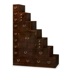 """China Furniture and Arts - Elmwood Japanese Style Step Tansu - Adopted from an ingenious 19th-century Japanese design, the Step Tansu is not only a beautiful piece of furniture but also makes a wonderful room divider and double-sided storage unit with 19 drawers and a center double door component for your storage needs. Built in two sections, top section 23""""W x 20""""D x 30""""H, bottom section 52.75""""W x 20.5""""D x 41.5""""H, both sides are finished identically and is completely reversible. Hand rubbed in dark Chinese tea stain with contrasting brass hardware which makes it a wonderful piece to position in the glistening sunlight. Made of Elmwood by skilled craftsmen in China for long lasting durability. Assembled."""