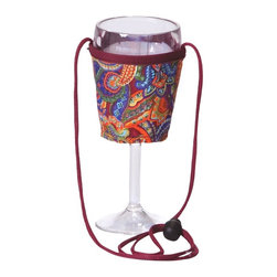 """Picnic Plus - Wine Glass Lanyard (2), Jewel Paisley - Picnic Plus Wine Glass Lanyards Hold Your Wine Glass Or Beverage, Jewel Paisley. Color/Design: Jewel Paisley; Fit securely around a standard wine glass or beverage can; Adjustable length lanyard holds your wine glass or can securely around your neck; Set of 2. Dimensions: 3""""D x 3 1/2""""H"""