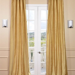 Sunrise Gold Textured Dupioni Silk Curtain - Dupioni silk has been around for centuries. The beautiful luster and sheen of this textured silk is timeless & will work in any décor. Whether your home is classic & traditional or modern & contemporary our Textured Dupioni Silk curtains will add color & beauty to any space.
