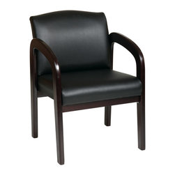 Office Star - Work Smart WD Collection WD388-U6 Faux Leather Espresso Finish Wood Visitor Chai - Faux Leather Espresso Finish Wood Visitor Chair. Thick Padded Seat and Back with Built-in Lumbar Support. Faux Leather: Espresso (-U6). Espresso Wood Base and Arms.