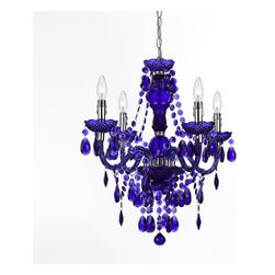 AF Lighting - Plastic 4-Light Mini Chandelier in White, Purple - Our fashion color plastic mini chandelier in purple is great to use in any decor to bring that pop of color and fun. Crafted in cut plastic our 4-light mini chandelier comes with a swag kit, it can also be hardwired if needed. Dripping with lots of plastic teardrops and beads making this a fun item in your decor. Due to hand-crafting, no two plastic mini chandeliers are alike.
