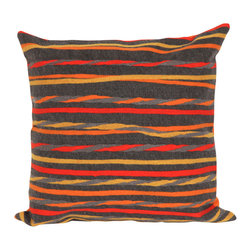 """Trans-Ocean - Twist Stripe Grey Pillow - 20"""" SQ - The highly detailed painterly effect is achieved by Liora Mannes patented Lamontage process which combines hand crafted art with cutting edge technology.These pillows are made with 100% polyester microfiber for an extra soft hand, and a 100% Polyester Insert.Liora Manne's pillows are suitable for Indoors or Outdoors, are antimicrobial, have a removable cover with a zipper closure for easy-care, and are handwashable."""