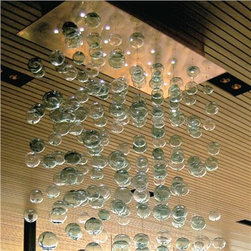 Bel Vitro - Bubbles Blown Glass Chandelier - This beautiful chandelier features blown glass bubbles cascading from an illuminated canopy. Each chandelier is custom made to order and can be made in virtually any shape and size.