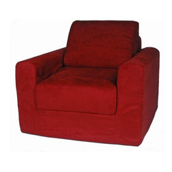 "Fun Furnishings - Fun Furnishings Micro Suede Chair Sleeper in Red - Navy Micro Suede-Teen Chair by Fun Furnishings. Teen Chair. This comfortable versatile sleeper chair is a big hit with tweens and young teens. It is a sturdy yet light weight chair for their rooms and jus the thing for friends spending the night. Flip out the chair to make an instant sleeper 64"" inches long. Put two or more chairs together side by side to make a sectional. The possibilities are endless! It should be noted that while this chair is large enough to seat many older teens the fold out bed is 64 inches ( 5' 4"" ) long. Built-in Durability. We've worked hard to make our furniture durable and help it retain its appearance. We use high-density foam to make the furniture hold up to the tough use it receives from kids. We include a layer of fiber on the seating surfaces to keep the fabric tight much longer."