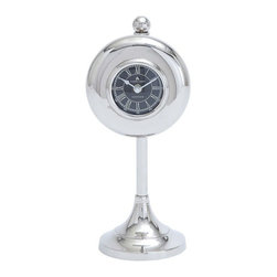 Benzara - Table Clock with Round Shape and Subtle Curve - Add to the aesthetics of your office or home table settings with this stylish Metal Nickel Plated Table Clock. It features a simple design that can complement all kinds of settings. This elegant clock is crafted with subtle curves and minimal detail work, and it sports an understated style that is ideal for blending in with various decors. This clock features a round shape and is fitted on a stand that adds a distinctive touch to the design. The face of the clock features a black background, which when teamed with the beautiful nickel plating gives the clock a stunning appearance. The clock also includes Roman numerals that add an attractive touch to the design. Crafted from sturdy metal, this clock ensures firmness and long lasting use..