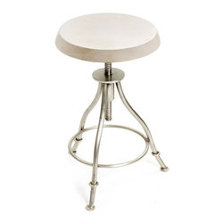 Exam Stool - New from our French chic furniture collection, this Exam stool features a round top with a steel base, with the whole body adorned with a polished nickel finish. It can be utilized to be kept on the side or beside the wall to fill up a cozy corner.