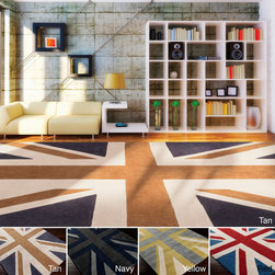 None - Hand-tufted Union Jack Novelty Contemporary Area Rug (3'6 x 5'6) - This one of a kind rug will be the perfect accessory to add that finishing touch to your decor. Whether you want a splash of color or a subtle accent,this area rug is the perfect choice.