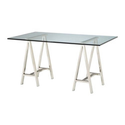 Bailey Street - Rectangular Glass Top Table w Architects Double Pedestal Base - Fresh and modern with a simple, industrial inspired design, this glass topped architect's table will easily enhance your home or office decor. Featuring a metal double pedestal base in polished nickel tone finish, the table will be a versatile, contemporary workspace well suited to urban designs. 19 mm. glass top. Contemporary desk with traditional base. Made from metal and glass. Polished nickel finish base. 60 in. L x 36 in. W x 31 in. H