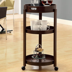 Monarch - Cappuccino Bar Cart with A Serving Tray On Castors - Add an unparalleled appeal to you bar area with this modern styled bar cart. It features clean edges, straight legs, and a rich solid-wood cappuccino finish that add a bold element to your area. Its black casters make it easy to move the cart from room to room or serve your guests! Three spacious shelves and a removable serving tray offer plenty of space, ideal for make drinks and storing your bar accessoires, making this piece appropriate for both casual and formal dining occasions.