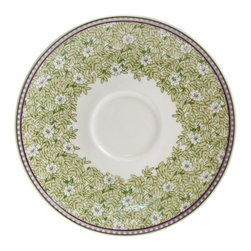Denby - Denby Daisy Tea Saucer - Set of 4 - DENB248 - Shop for Housewares from Hayneedle.com! The Denby Daisy Tea Saucer - Set of 4 is the finishing touch on your new tea set. These elegant cups boast a timeless shape accented with a vintgae-inspired daisy pattern. Nothing beats the charm of this delicate feminine design of soft green and lavendar against fine cream china. This set comes with four teacups which are microwave- dishwasher- and freezer-safe.About DenbyDenby has its roots in England where skilled craftsman have been making pottery using traditional methods for over 200 years. Though the time and styles have changed Denby has kept pace and today continues to make high-quality beautiful and timeless dinnerware. From its humble roots Denby has spread all over the world and is a top choice for brides and families looking to spruce up their dining sets. Even better all of Denby's products are made for the modern kitchen and are dishwasher- oven- microwave- and freezer-safe.