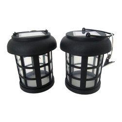 Smart Solar - Umbrella Hanging Solar Lantern - 2 Pack - Open bottom lantern is ideal for clipping to umbrella. Energy-saving White LED. Includes handle and hanging clips. Powered by an integral solar panel. Automatically turns on at dusk and off at dawn. Up to 8 hours of light on a single charge. Replaceable rechargeable NiMH battery. No wiring, simply install and enjoy. No operating costs. One year limited warranty. Battery . Voltage: 1.2V . Capacity: AA NiMH 300mAh. 8.7 in. L x 4.3 in. W x 5.1 in. H (0.8 lbs.)These decorative solar lanterns make eye catching accent pieces for any outdoor deck or patio area. Powered by a discreet integral solar panel, they charge by day and automatically illuminate for up to 8 hours at night. Open bottom lanterns are ideal for clipping to umbrella. White energy saving LED provides ambient lighting around the table. Black finish, rechargeable NiMH AA battery included.