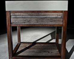 Rustic Modern Concrete, Wood, & Steel Vanity - A timeless medley of concrete, wood, and steel, this vanity combines modern style with the warm and inviting qualities of weathered materials.