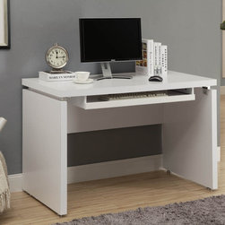 None - White 48-inch Long Computer Desk - Add function and style to your living space with this sleek white computer desk. With sharp edges and a neutral finish, this desk is the perfect accent for any home decor.