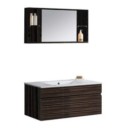Vigo Industries - VIGO 35-inch Single Bathroom Vanity with Medicine Cabinet - Ebony - Elegance is at your fingertips with this beautiful VIGO bathroom vanity. No other brand can match VIGO's style, quality and design. Cabinet is made of quality constructed engineered wood with wood veneers in an ebony finish which consists of an anti-scratch paint surface for enhanced durability and frequent use. Features Features one large sliding drawer made with soft closing hardware Includes solid white porcelain counter, pre-drilled for a single hole faucet Includes a medicine cabinet with integrated shelves on each side of the mirror Includes solid brass, chrome-plated drain assembly All mounting hardware included Vanity is fabricated for wall mount installation with all mounting hardware included This cabinet is shipped assembled 5 Year Limited Warranty Faucet NOT included How to handle your counterView Spec Sheet