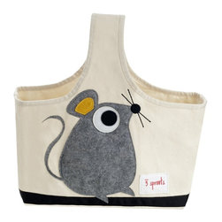 3 Sprouts - 3 Sprouts Storage Caddy, Mouse - Our 3 Sprouts gray caddy in cute mouse pattern is the perfect organizational solution for any nursery. Made of sturdy canvas this caddy is the perfect tote for all those nursery items from diapers to lotions you need in one spot and ready to go. And when Mom or Dad are finished with it, the 3 Sprouts caddy makes a perfect art tote for one's little Picasso.