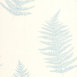 Graham & Brown - Verdant Teal Wallpaper - Soft botanical fern with stunning texture and mica deboss leaves.