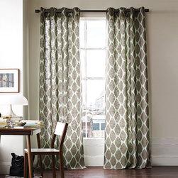 Ikat Ogee Linen Window Panel - Ikat patterns add optical intrigue to textural linen/cotton.