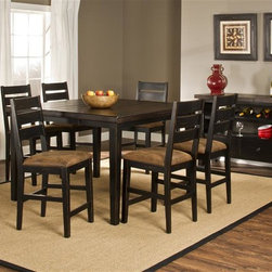 Hillsdale - 7-Piece Counter Height Dining with Ladder Bac - Includes table and 6 chairs. On-trend counter height square top table. Four accompanying ladderback dining chairs, each accented with a seat cushions in a soft, neutral microfiber with an aged leather aesthetic.  Some assembly required. . 54 in. W x 54 in. D x 42 in. H (257.5 lbs.)