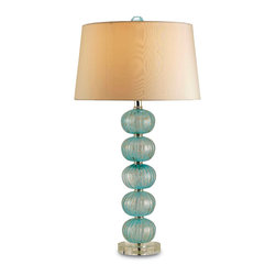 Kathy Kuo Home - Amelie Light Blue Glass Coastal Style Bubble Lamp - With an elegant pale blue glass base, linen drum shade and matching blue glass finial the Amelie delivers a modern and romantic feeling to any room.  The hand finishing on this piece lends an air of depth and richness not achieved by less time-consuming methods