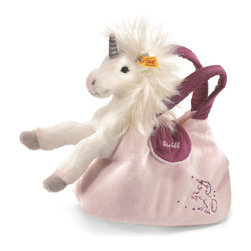 Steiff - Steiff Starly Unicorn in Handbag - This is for the girl on the go!  Starly Unicorn is made of cuddly soft white woven plush, and the Purse is made of cuddly soft pale pink plush .  Steiff Starly Unicorn in Handbag is machine washable.  Ages 3 and up. Handmade.