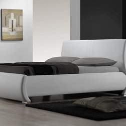 """DG Casa - Montecito Platform Bed - The Montecito Bed is pure modern sophistication. With sleek lines and smooth white leather, the Montecito will be the focal point of any bedroom. Features: -Curved headboard.-Sleek line design.-No box spring required.-Includes slat support system.-Upholstered in white bonded leather.-Montecito collection.-Distressed: No.Dimensions: -King Dimensions: 38"""" H x 82"""" W x 94"""" D.-Queen Dimensions: 38"""" H x 65"""" W x 94"""" D.-Overall Product Weight: 134 lbs.-Overall Height - Top to Bottom: 38"""".-Overall Depth - Front to Back: 94""""."""