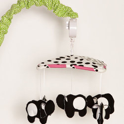 """Cotton Tale Designs - Hottsie Dottsie Mobile - A quality baby bedding set is essential in making your nursery warm and inviting. All Cotton Tale patterns are made using the finest quality materials and are uniquely designed to create an elegant and sophisticated nursery. Musical canopy in black spot on white, with hot pink stripe cord. Five black elephants with big white polka dot. Mobile arm in green animal skin. Spot clean only. Wind up mechanism, plays Brahms lullaby. Basic assembly required. Mobile for a girls nursery.;Dimensions: 12""""L x 17""""W x 21""""H"""