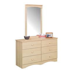 Nexera - Alegria Natural Maple 6-Drawer Double Dresser with Mirror Set Multicolor - QB151 - Shop for Dressers from Hayneedle.com! Alegria Natural Maple 6-Drawer Double Dresser:With six large drawers for maximum storage capability this chest of drawers will give your children the storage they need with the style they demand. The Alegria 6-Drawer Double Dresser features a side-by-side construction that puts every drawer within easy reach. Each drawer is mounted on metal guides that provide for smooth and easy operation. Clean and simple lines are the signature of this series and offer a unique and sophisticated appeal that your child will love. The natural finish of this dresser will highlight any room and add a warm natural glow that will delight your child.Alegria Natural Maple Mirror:Add depth and dimension to your childs bedroom with this mirror. The Alegria Mirror is the ideal pairing to any dresser in this series and will make it easy for your child to survey their attire in the morning. It features a stylized pediment consistent with the sophisticated look of the series. The large vertical area allows for plenty of viewing surface. This mirror comes in a natural wood tone that will add a warm glow to any bedroom.About NexeraNexera whose name is a combination of the words next era is a Canadian manufacturer of affordable ready-to-assemble furniture known for its innovative cosmopolitan style. At their factory in Laval Canada Nexera employees utilize state-of-the-art equipment to manufacture their modern furniture collections including bedroom collections entertainment furniture office furniture and utility furniture.From start to finish Nexera upholds high standards of care for the environment when making their furniture. All raw material (particle board) originates from FSC (Forest Stewardship Council) certified forests only and energy used comes from renewable sources only such as hydro-electricity and windmill power. Nexera meets the CARB (California Air Resources Board) requirements for clean air and it recycles over 92% of its factory waste. Nexera products are packaged with 100% recycled fibers. Because of the materials they are constructed with Nexera products are also able to be recycled at the end of their life cycle which reduces landfill waste.