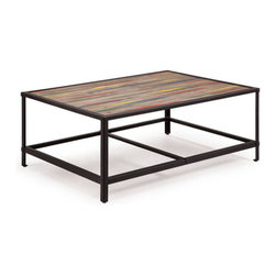 ZUO - Sawyer Coffee Table - Sway toward the bright side with the Sawyer Coffee Table. Distressed elm wood over a metal frame is accented by unexpected jolts of color. Perfect for highlighting hints of red or yellow in a room.