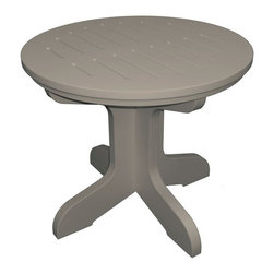 Poly Concepts - Poly Concepts Outdoor 21 in. Round Pedestal Side Table - JPST21R-W - Shop for Tables from Hayneedle.com! Give your outdoor seating area a side of convenience with the Poly Concepts Outdoor 21 in. Round Pedestal Side Table as part of your grouping. Stain- UV- and mildew-resistant titanium resin construction allows for worry-free maintenance. Sturdy mortise and tenon joints feature a peg and screw for durable design. A slotted top conveniently provides drainage. Stainless steel hardware does not rust. Choose from a range of color options and plan on some assembly.About Poly ConceptsPoly Concepts LLC aims to unite comfort style and durability in environmentally-friendly ways that feature quality and virtually no maintenance. The diverse collection features an outstanding line of premium quality outdoor furniture used across many applications. Healthcare hospitality residential and recreational industries enjoy the performance and satisfaction these pieces provide. Manufactured from Andure these pieces won't experience the same weathering problems as other outdoor pieces. The titanium alloy/resin has substantial weight and won't peel chip fade crack yellow or require painting for a lifetime of worry-free maintenance.