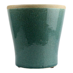 Medium Teal Ceramic Mulberry Cachepot - HomArt's Mulberry Ceramic collection comprises cylindrical and rectangular vases, tabletop planters, cachepots, bowls, and rectangular and round trays all in various sizes and available in four designer colors-espresso, teal, yellow, and white.