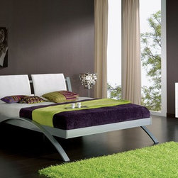 Made in Spain Leather Platform Bedroom Set with Extra Storage - Made in Spain white stylish bedroom set with leather headboard. Modern European Style Collection from Spain offers this ultra modern platform bed.