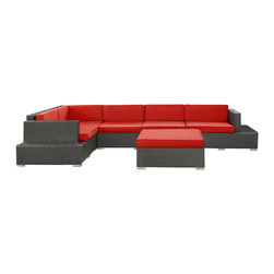 East End Imports - Harbor 6 Piece Sectional Set in Espresso Red - Immerse yourself in the depth of new surroundings as you become acquainted with the art of making socially innovative gatherings. Catch the perfect angle for boundless views of reality with this easily reconfigured outdoor set. Expand horizons and open new vistas as hidden opportunities rise to the surface.