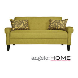 ANGELOHOME - angelo:HOME Ennis Green Bamboo Twill Sofa - The angelo:HOME Ennis sofa was designed by Angelo Surmelis. The Ennis sofa has squared arms and is covered in a green bamboo twill texture.