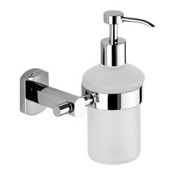 Gedy - Wall Mounted Round Frosted Glass Soap Dispenser - Contemporary wall mounted frosted glass liquid soap dispenser with a soap dispenser container made of matted glass.