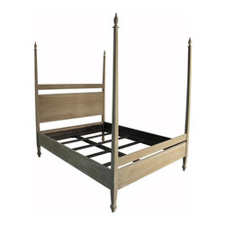 Noir Trading - Venice Bed, Queen in Weathered Finish - Made of durable mahogany wood, this sturdy four post bed provides a vintage look to be admired.  The Venice Bed comes in three finishes, choose from a natural weathered, or classic white wash.  Also offered in Queen and Eastern King sizes.