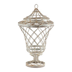 Kathy Kuo Home - Pair French Country Rusted White Pedestal Decorative Wire Urn - A wire urn with hand bent Iron and metal will tastefully display almost anything in your home. Hand finished in a traditional rusted white.