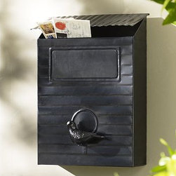 "Aviary Mailbox - This mailbox has a fun, vintage feeling that looks great whether or not your mail is still delivered to your front door. Hang it on the outside of your house and put flowers in it. Bird watchers will LOVE it.Mailbox: 11"" wide x 6.5"" deep x 16"" high Post: 5"" diameter, 64"" high (sold separately) Crafted of iron and aluminum with a bronze finish."