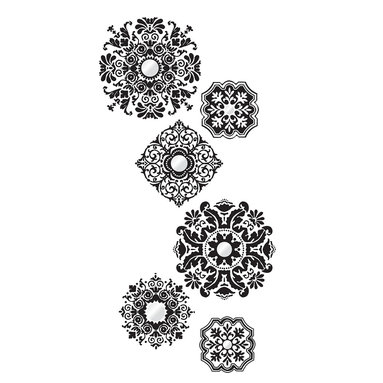 """WallPops - Baroque Wall Art Decal Kit - Black and elegant the Baroque Wall Art Kit offers a fabulous array of bold medallions with grand style, all of which are accented with mirror embellishments. Get a royal shimmer going with this ornate post-Renaissance inspired wall art. Baroque Kit WallPops come on two 17.25"""" x 39"""" sheets and contains 6 total pieces and comes with a pack of Mirror Accents.  WallPops are always repositionable and removable."""