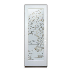 Sans Soucie Art Glass (door frame material Plastpro) - Glass Front Entry Door Sans Soucie Art Glass Bonsai Pinstripe - Sans Soucie Art Glass Front Door with Sandblast Etched Glass Design. Get the privacy you need without blocking the light, thru beautiful works of etched glass art by Sans Soucie!  This glass is semi-private.  (Photo is view from outside the home or building.)  Door material will be unfinished, ready for paint or stain.  Bronze Sill, Sweep and Hinges. Available in other sizes, swing directions and door materials.  Dual Pane Tempered Safety Glass.  Cleaning is the same as regular clear glass. Use glass cleaner and a soft cloth.