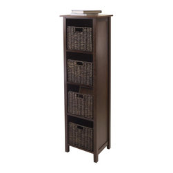 Winsome Wood - 4-Section Storage Unit - Includes four foldable baskets. Perfect to storage and organized goodies. Made from composite wood and corn husk. Walnut and chocolate finish. Assembly required. Basket open: 11.02 in. W x 10.24 in. D x 9.06 in. H. Basket folded: 19.88 in. W x 9.45 in. D x 2.36 in. H. Storage unit: 16.4 in. W x 13 in. D x 56 in. H