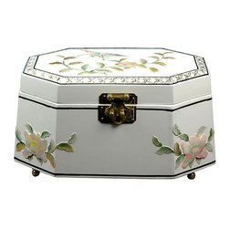 Oriental Unlimited - Antoinette Jewelry Box in White w Flowers Des - Perfect for a unique gift or as a special treat for yourself. Handcrafted by artisans in the Guangdong province of mainland China. Employs classic Chinese finishing techniques. Hand finished in a rich and clear lacquer. Compartment lined with fine red felt with a removable felt ring tray. Brass hardware is clear lacquered to resist tarnish. White lacquer appliqued. 11 in. W X 7 in. D X 6 in. H