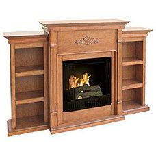 Dublin Gel Fuel Oak Fireplace with Bookcases | Overstock.com