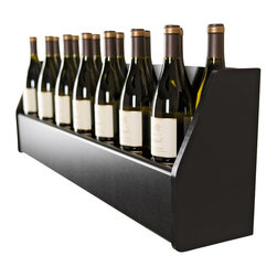 """Prepac - Prepac Floating Wine Rack in Black - Display your finest bottles of wine and liquor with this clever Floating Wine Rack. This wall mounted rack has a compact design to conserve space in your bar, living room, kitchen or dining area. With its sturdy construction you can display up to 18 standard 750ml bottles of wine or spirits. Keep a variety of stemmed glasses at hand by sliding them into the hidden channel underneath. This product ships """"Ready to Assemble"""" with an instruction booklet for easy assembly. Installation is easy with Prepac's hanging rail system.  What's included: Wine Rack (1)."""