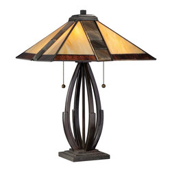 Quoizel - Quoizel TF1181TVA Destiny Tiffany Table Lamp - The Tiffany category has expanded to include a variety a styles and this table lamp is one of the newest additions.  A rich valiant bronze finish brings depth to the openconcept base and complements the contemporary shade, in hues of cream and brown.