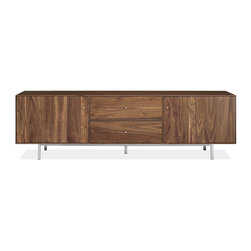 Hudson Media Cabinets With Steel Base - In an apartment, proper storage is key. I would use this long, low media cabinet from Room & Board to house both my tech equipment and linens for the dining room table.