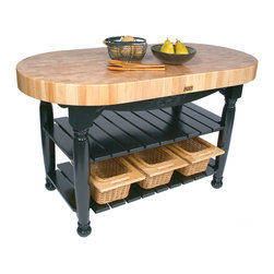 John Boos - Boos Harvest Table with Oval Butcher Block Top, Shelves, Baskets - John Boos Harvest Table. 60 x 30 in. oval, 36 in. high. Maple End-Grain butcher block top 4 in. thick. 3 wicker baskets. Table base comes in 13 colors.