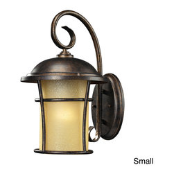 ELK LIGHTING - Bolla Vista Regal Bronze 1-light Outdoor Sconce - Bring contemporary style to your outdoor lighting with the Bolla Vista sconce. The light fixture features a regal bronze finish and amber glass.