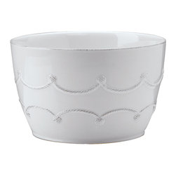 Berry and Thread Serving Bowl - Whitewash - Two mirrored rows of restrained rope garland form an elegant scalloped band on the walls of the Berry and Thread Serving Bowl. A high-capacity piece in a Whitewash glaze that gives purity to the look while allowing the craftsmanship to make a superb showing, this bowl is as ideal for casual display as for presenting meals in the oven-safe, chip-resistant stoneware vessel.