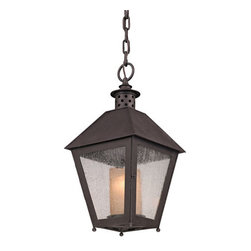 Troy - Centennial Rust Sagamore One-Light Hanging Post Mount Lantern Pendant - - Sagamore 1 Light Hanger Post Mount Lantern. Centennial Rust Finish and Clear Seeded with Amber Cylinder Glass. Made From Hand-Forged Iron. Troy - F3297